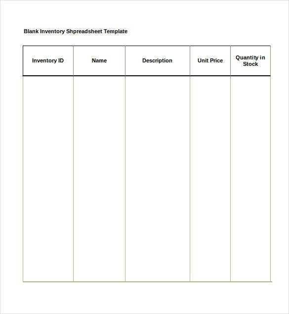 Blank Inventory Spreadsheet Template Free Download  Microsoft Office Inventory Template