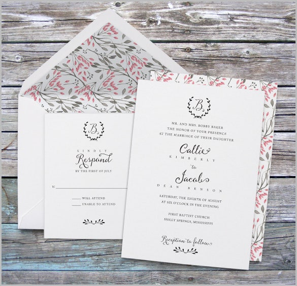 wedding invitation template monogram wedding invitation vintage watercolor floral elegant