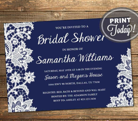 lace bridal shower invitation wedding shower formal invitation lace navy blue dark blue white