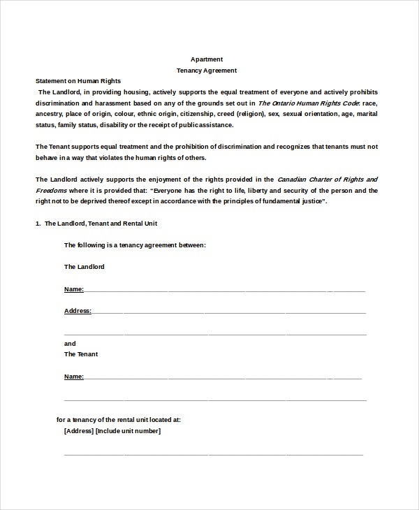 Apartment Rental Agreement Templates  Free Sample Example