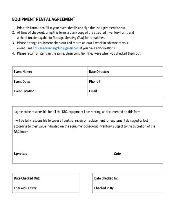 Lease Agreement Form Sample Equipment Rental Agreement Template Pdf