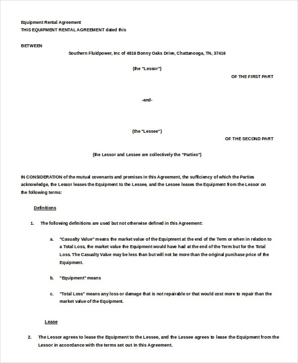 Equipment rental agreement template Word