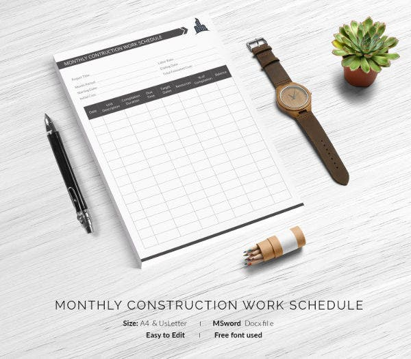 Monthly Work Schedule Template 27 Free Word Excel PDF Format – Construction Work Schedule Templates Free