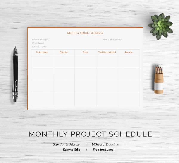 monthly work schedule template
