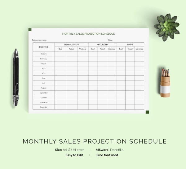 Monthly work schedule template 29 free word excel pdf for Sales projection template free download