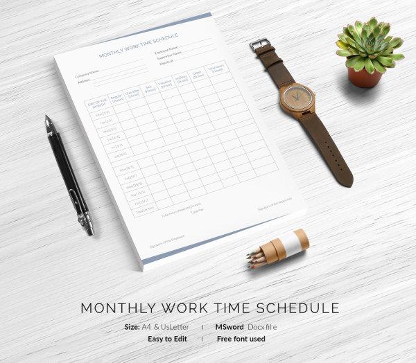 Monthly Work Schedule