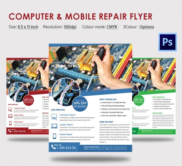Editable Computer and Mobile Repair Flyer