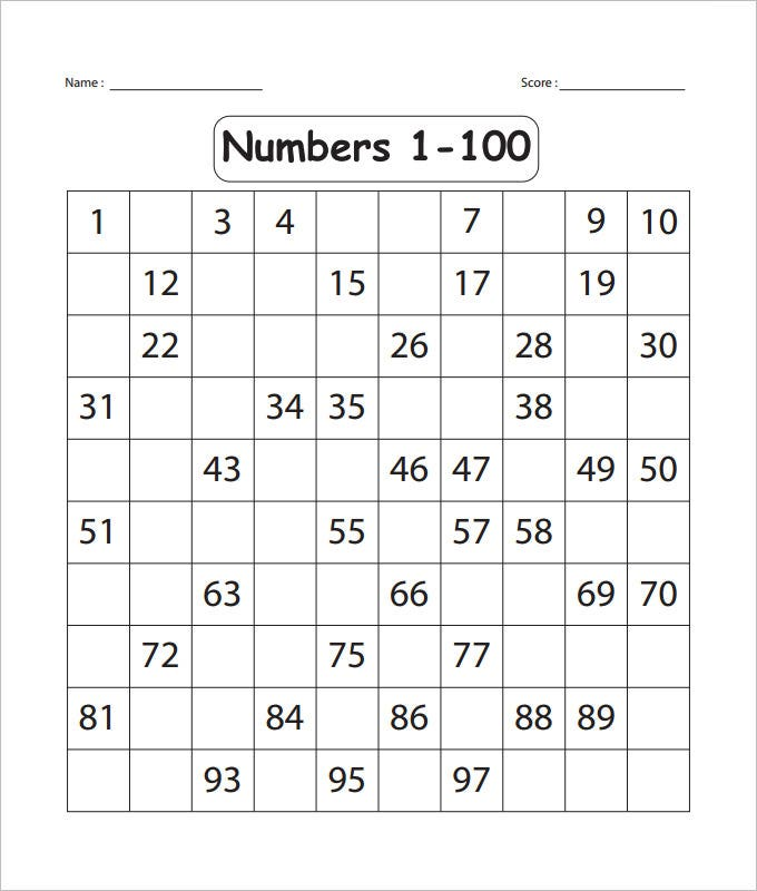 100 chart with missing numbers worksheet