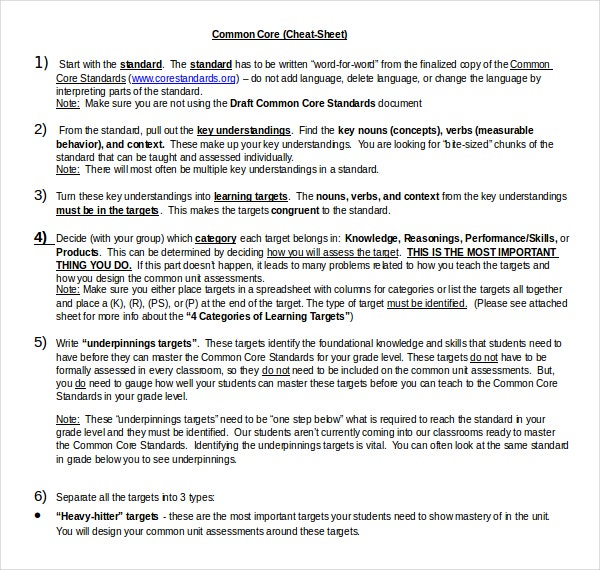 common core standards cheat sheet doc format template download
