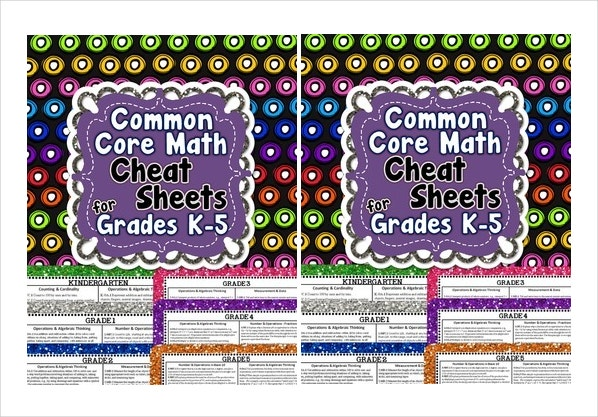 common core math cheat sheets for grades download