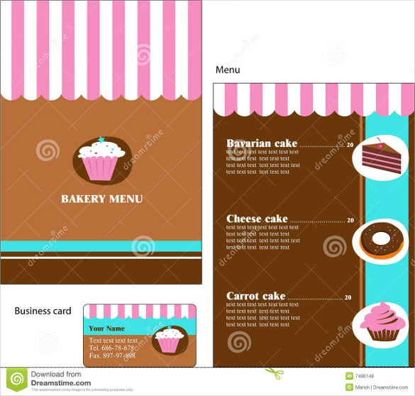 Bakery menu templates 28 free word psd pdf eps indesign this excel format royalty bakery menu template comes in shade of white pink and brown the menu also comes with a business card which you can customize to reheart
