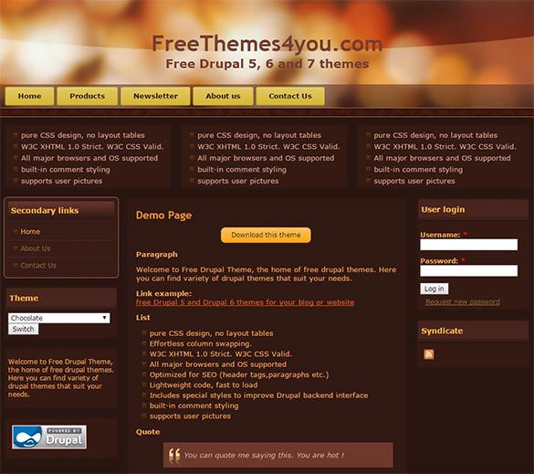 free restaurant drupal template