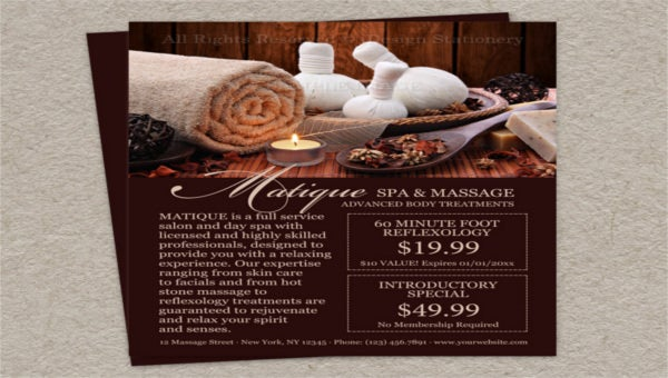 featured image spa menu template
