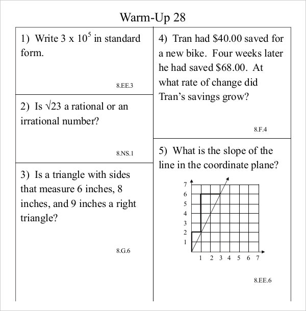 Common Core Math WarmUp Program Sheet