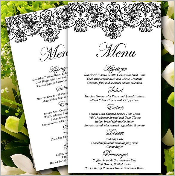 wedding menu card template downloadable formal wedding menu
