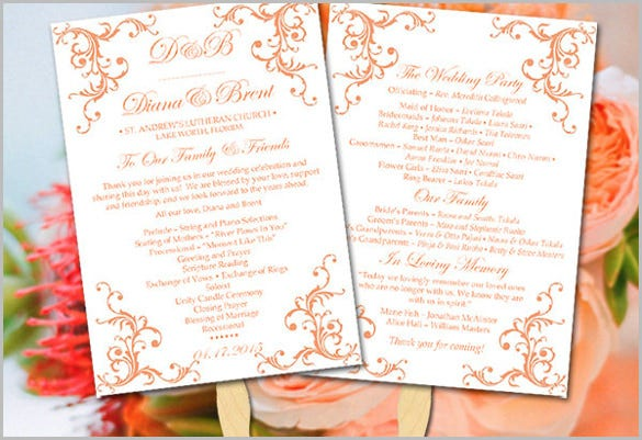 diy wedding program fan template fuzzy peach printable wedding