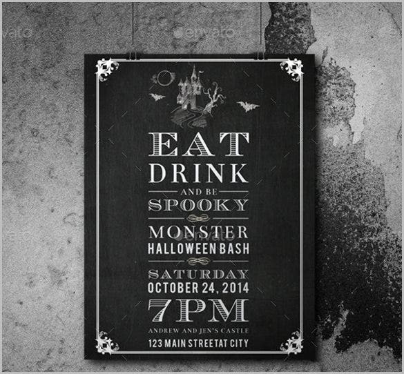 chalkboard halloween invitation template