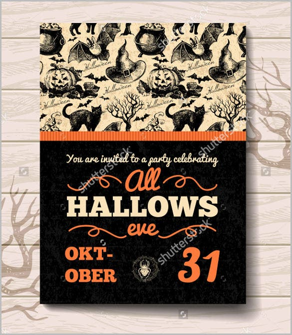 vintage hand drawn halloween invitation template