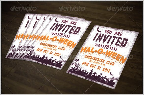 halloween party invitation template on dark wood background