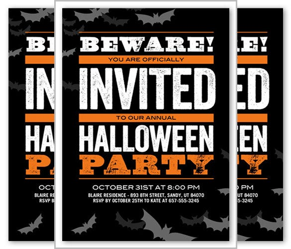 beware bats halloween invitation template