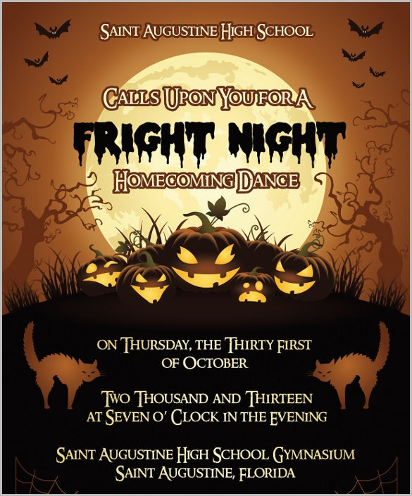 fright night homecoming halloween invitation