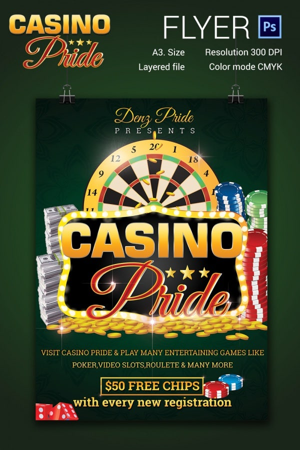 editable casino flyer template