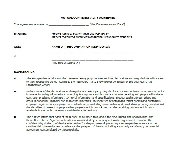 Mutual Basic Confidentiality Agreement