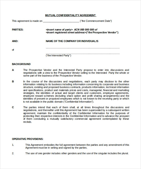 Business Confidentiality Agreement – 8+ Free Word, Pdf Documents