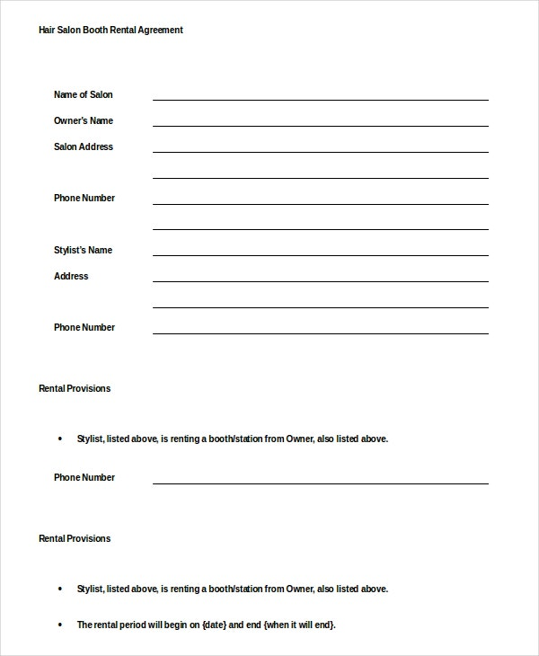 13 Booth Rental Agreement Templates Free Sample Example Format – Booth Rental Agreement