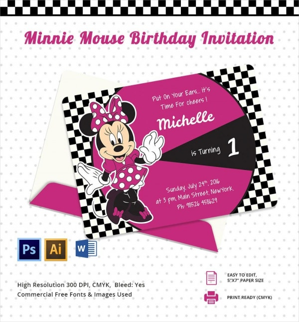 Minnie Mouse Birthday Party Invitation Card Template