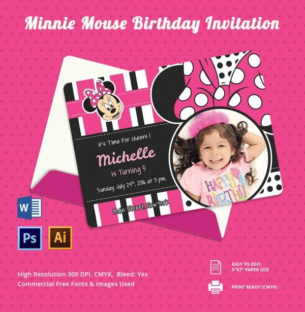 awesome minnie mouse invitation template - 27+ free psd, vector, Birthday invitations
