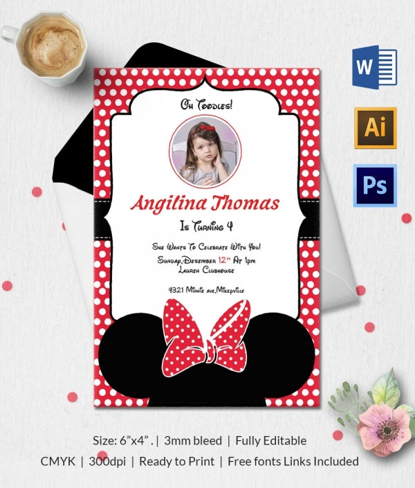 Minnie Mouse Printable Birthday Invitation Classic