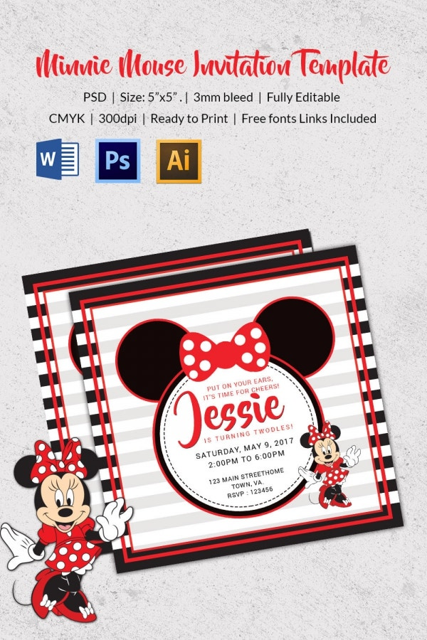 Custom Minnie Mouse Birthday Invitation