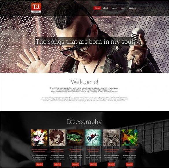 responsive music fan page drupal template
