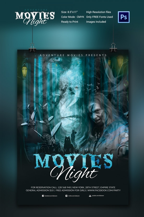 PSD Movie Night Poster Template