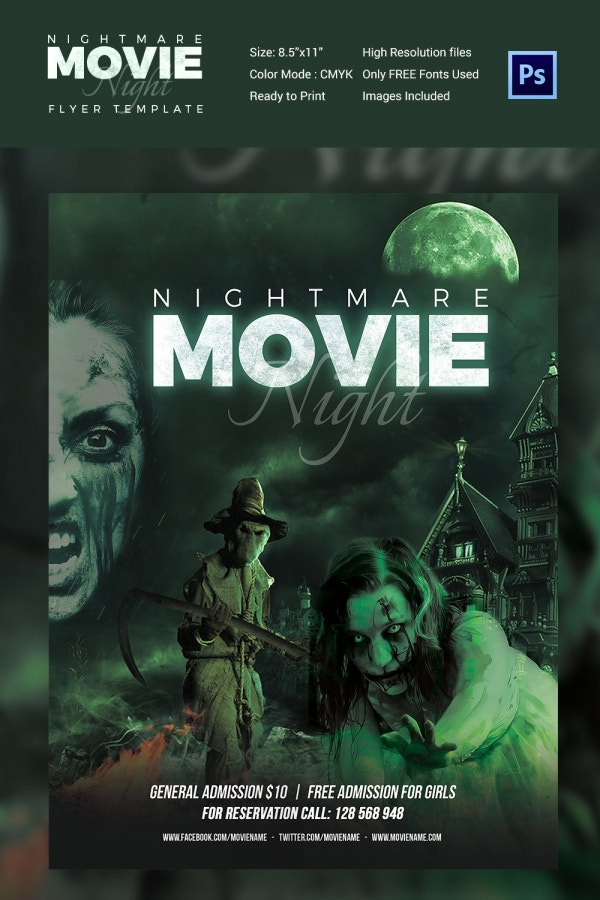 Movie Night Poster Template Flyer Design