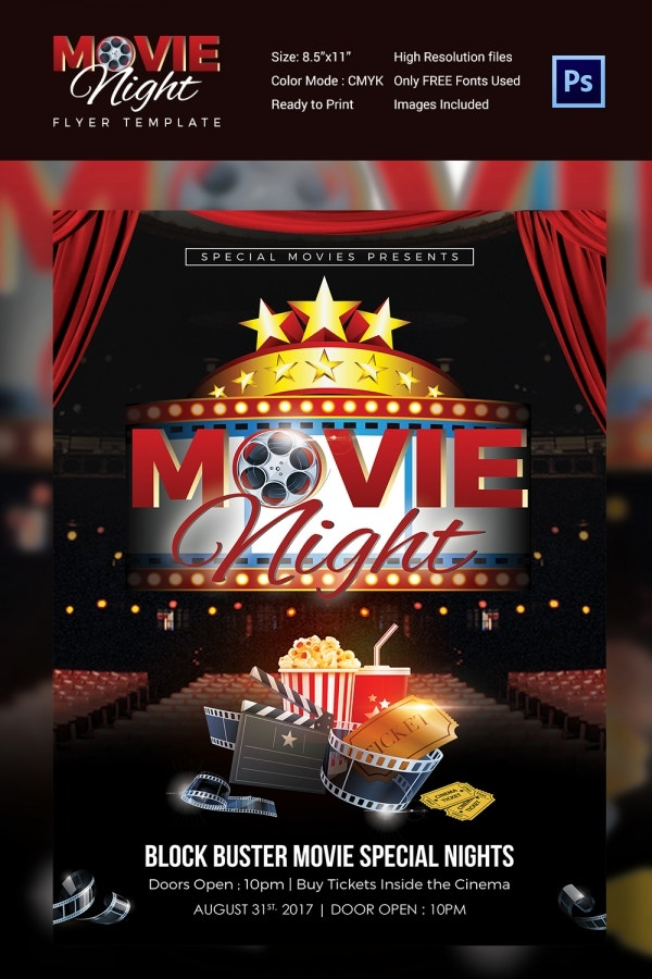 Modern Movie Night Flyer Template