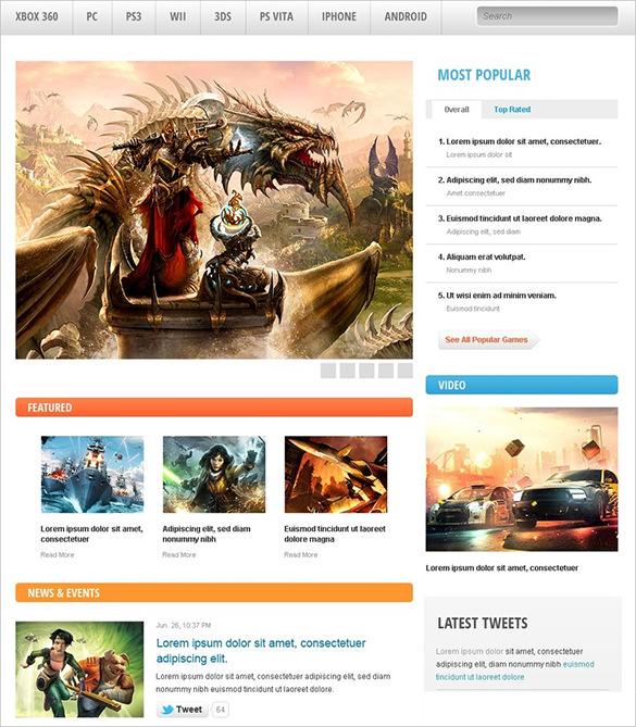 game portal drupal theme