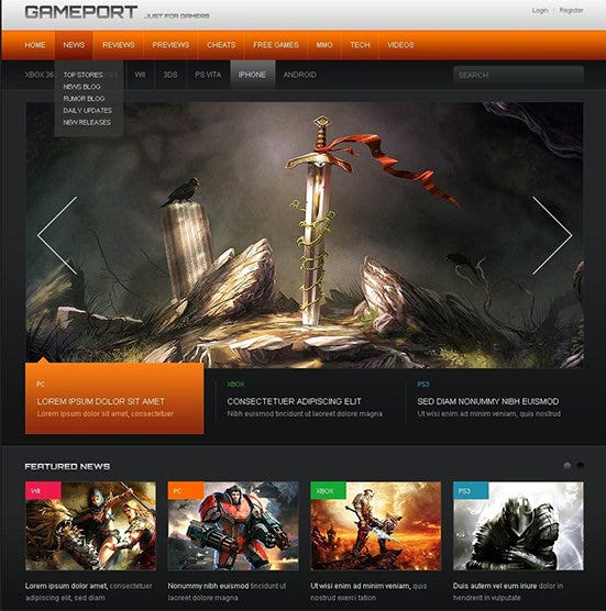 download responsive gaming portal drupal template