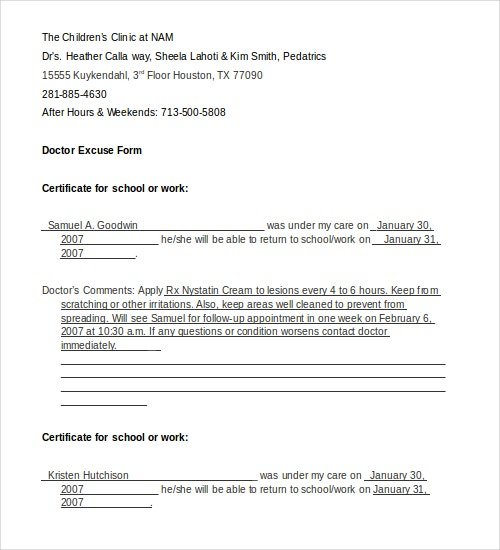 Doctors note template 9 free sample examples format for Doctors excuse templates for work