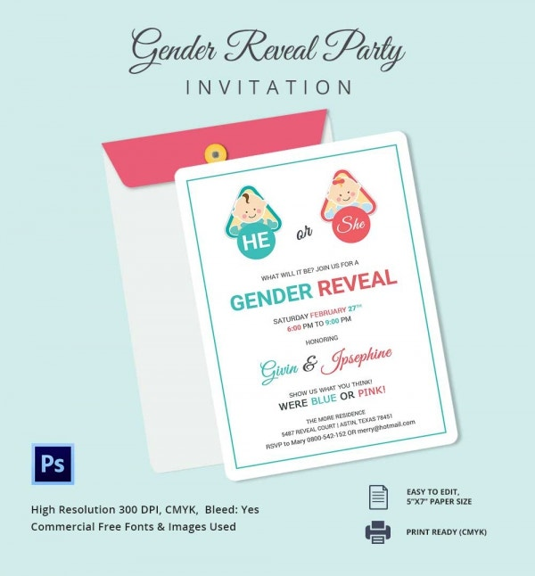 Baby Gender Reveal Invitations Template
