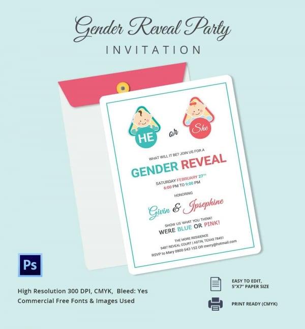 Gender reveal invitation templates free amp premium templates