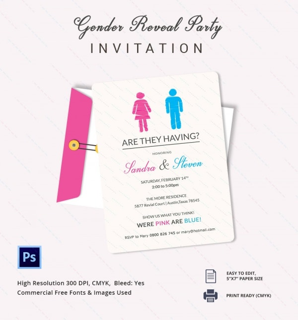 Free Download Gender Reveal Invitation Template