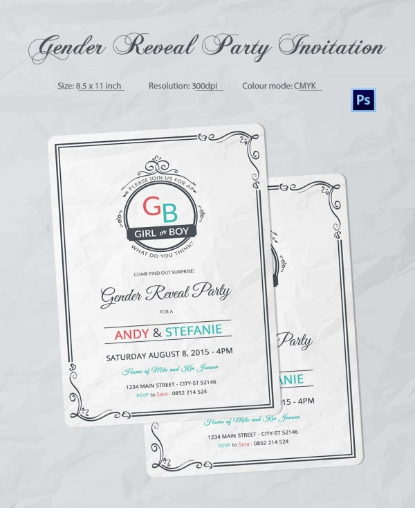 Printable Gender Reveal Invitation