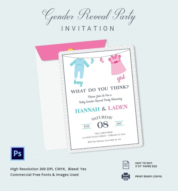 Gender Reveal Baby Shower Invite Template