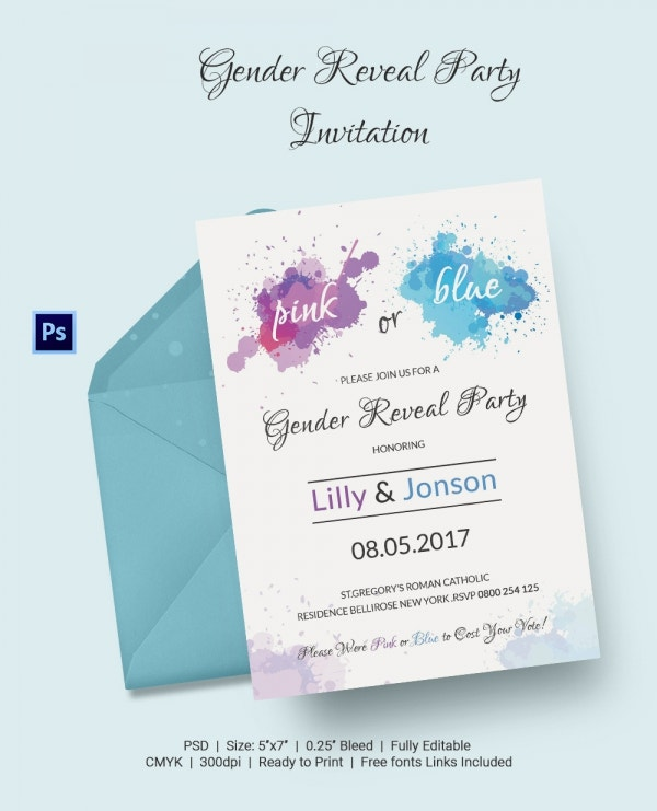 Photoshop Invitations for Gender Reveal Party