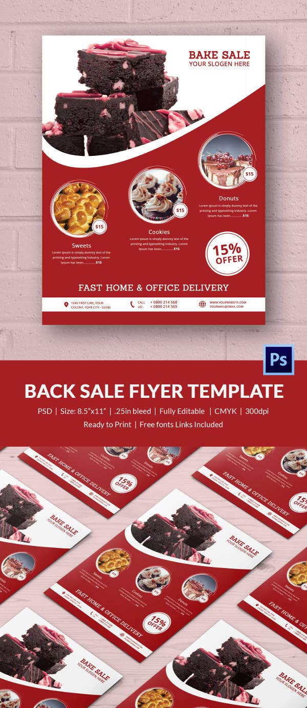 bake flyer template 24 psd indesign ai format red colour bake flyer