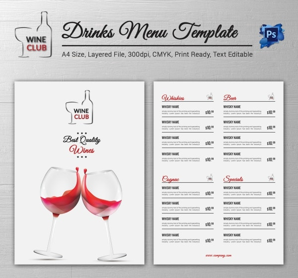 Drink Menu Template   Free Psd Eps Documents Download  Free