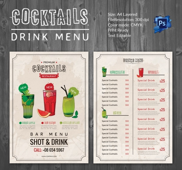 Cocktail Menu Template – 45+ Free Psd, Eps Documents Download