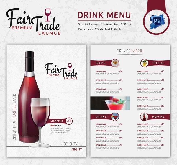 Drink Menu Template 25 Free PSD EPS Documents Download – Drinks Menu Template Free